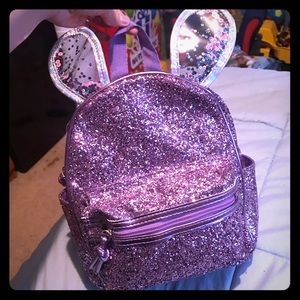 Purple glitter backpack and accessories